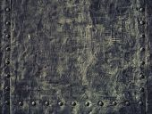 Grunge Black Metal Plate With Rivets Screws Background Texture poster