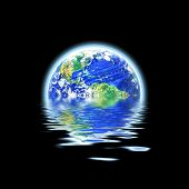 stock photo of geosphere  - the earth floating in a pool of water that works great for flood concepts global warming or even the scuba diving and oceanography fields - JPG