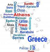 Mapa de Grécia e nuvem de palavras com cidades maiores