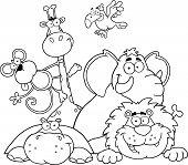 Delineada a ilustração de animais selva