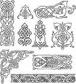 antique old Russian ornaments vector set