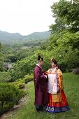 image of hanbok  - Biracial couple after their traditional Korean wedding ceremony surrounded by nature in the mountains - JPG
