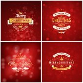 Set Of Christmas Golden And Red Greeting Card Templates. Vintage Typographic Badges, Labels. Christm poster