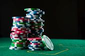 Casino Poker Table With Chips And Cards poster