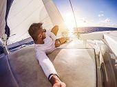 Holiday Selfie On Sailing Yacht Catamaran poster