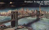 BROOKLYN, NEW YORK - CIRCA 1915: Vintage postcard depicting the Brooklyn Bridge at night, crossing o