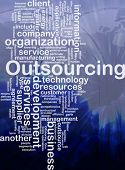 Word cloud concept illustration of business outsourcing international