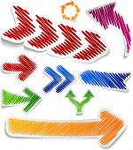 Scribbled collection of arrows stickers. Vector EPS8.