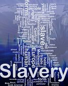 Word cloud concept illustration of human slavery international
