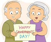 Illustration of an Elderly Couple Holding a Poster
