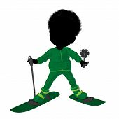 Pequeno esquiador americano Africano Girl ilustração silhueta