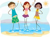 Illustration of Friends at the Beach