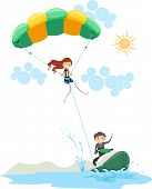 image of parasailing  - Illustration of a Couple Parasailing - JPG