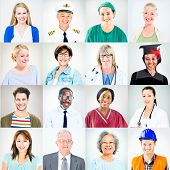 Portraits of Multiethnic Mixed Occupations People poster
