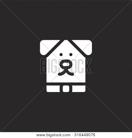 poster of Dog Icon. Dog Icon Vector Flat Illustration For Graphic And Web Design Isolated On Black Background