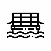 Public Transport Cable Ferry Thin Line Icon. Sea River Ship Cable Ferry, Urban Passenger Transport L poster