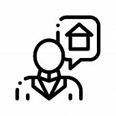 Character Man Thinking Dream Buy House Icon Thin Line. Businessman Dreaming Want Sale Or Rent Buildi poster