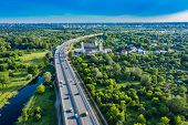 Aerial Drone Flight Top Down View Of Freeway Busy City Rush Hour Heavy Traffic Jam Highway. Aerial V poster
