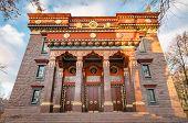 The Datsan Gunzechoinei Is A Large Buddhist Temple. St. Petersburg, Russia. Buddhist Datsan Facade A poster