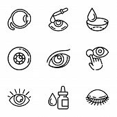 Optical Eye Care Icon Set. Outline Set Of 9 Optical Eye Care Vector Icons For Web Design Isolated On poster