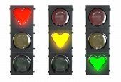 Set Of Traffic Light With Heart Shaped Red, Yellow And Green Lamps