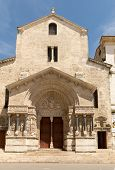 West Facade Of The Saint Trophime Cathedral In Arles, France. Bouches-du-rhone,  France poster