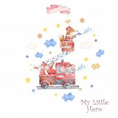 Watercolor Rescue Kit. Little Heroes The Fire Rescue Funny Cartoon, Hand Drawn Colorful Illustration poster