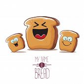 Vector Funky Cartoon Bread Character With Friends Isolated On White Background. Funky Food Bakery Ki poster