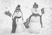 Snowman Couple In Love Have Fun Christmas Or New Year. Happy New Year Snowman Friends. Trust In Love poster