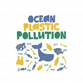 Ocean Plastic Pollution Vector Banner Template. Marine Fauna Suffering From Disposable Cutlery, Bags poster