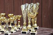 Group Of Horse Riding Equestrian Sport Trophies Badges Rosettes At Equestrian Event poster