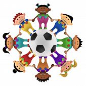 Multiethnic Kids Around A Football