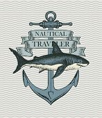 Retro Banner With Ship Anchor And Hand Drawn Shark With Words Vector Illustration On The Theme Of Tr poster