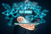 Text Mining - Process Of Deriving High-quality Information From Text. Text Analysis Concept With Dig poster