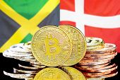 Concept For Investors In Cryptocurrency And Blockchain Technology In The Jamaica And Denmark. Bitcoi poster