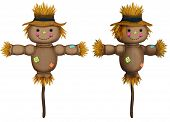 Front And Perspective View Of Cute Scarecrow Illustrations On White poster
