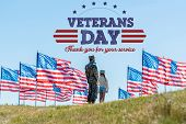 Man In Military Uniform Standing With Daughter Near American Flags With Veterans Day, Thank You For  poster