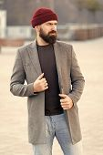 Man Bearded Hipster Stylish Fashionable Coat And Hat. Comfortable Outfit. Achieve Desired Fit. Hipst poster