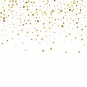 Sparse Gold Confetti Luxury Sparkling Confetti. Scattered Small Gold Particles On White Background.  poster