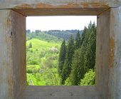image of natural resources  - Nature panorama seen from a wooden frame - JPG
