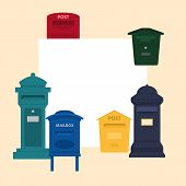 Mail Box Vector Illustration With Space For Text Banner. Post Mailbox Or Postal Letterbox Of America poster