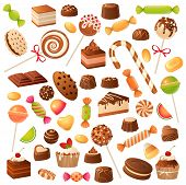 Sweet Candies. Candy Bonbon Lollipop, Marmalade And Fruit Candied. Chocolate And Marshmallow, Kids H poster