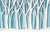 Paper Winter Forest. White Frozen Trees Silhouettes, Christmas Season Natural Paper Cut Landscape. 3 poster