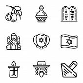 Jewish Objects Icon Set. Outline Set Of 9 Jewish Objects Vector Icons For Web Design Isolated On Whi poster
