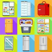 Commercial Fridge Icon Set. Flat Set Of 9 Commercial Fridge Vector Icons For Web Design Isolated On  poster