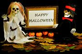 Happy Halloween Is A Holiday Of Evil Spirits.  On This Autumn Day The Custom To Frighten And Cajole  poster