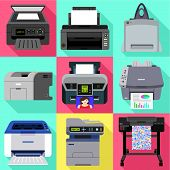 Commercial Printer Icon Set. Flat Set Of 9 Commercial Printer Vector Icons For Web Design Isolated O poster