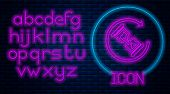 Glowing Neon Waiting Icon Isolated On Brick Wall Background. Wait Time Icon. Hourglass Clock. Neon L poster