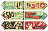Ski And Winter Holiday Retro Signs Collection. Vintage Vector Illustration With Winter Vacation And  poster