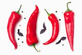 Red Hot Chili Peppers On A White Background. Hot Spicy Spices For Cooking: Chili Pepper, Garlic, Bas poster